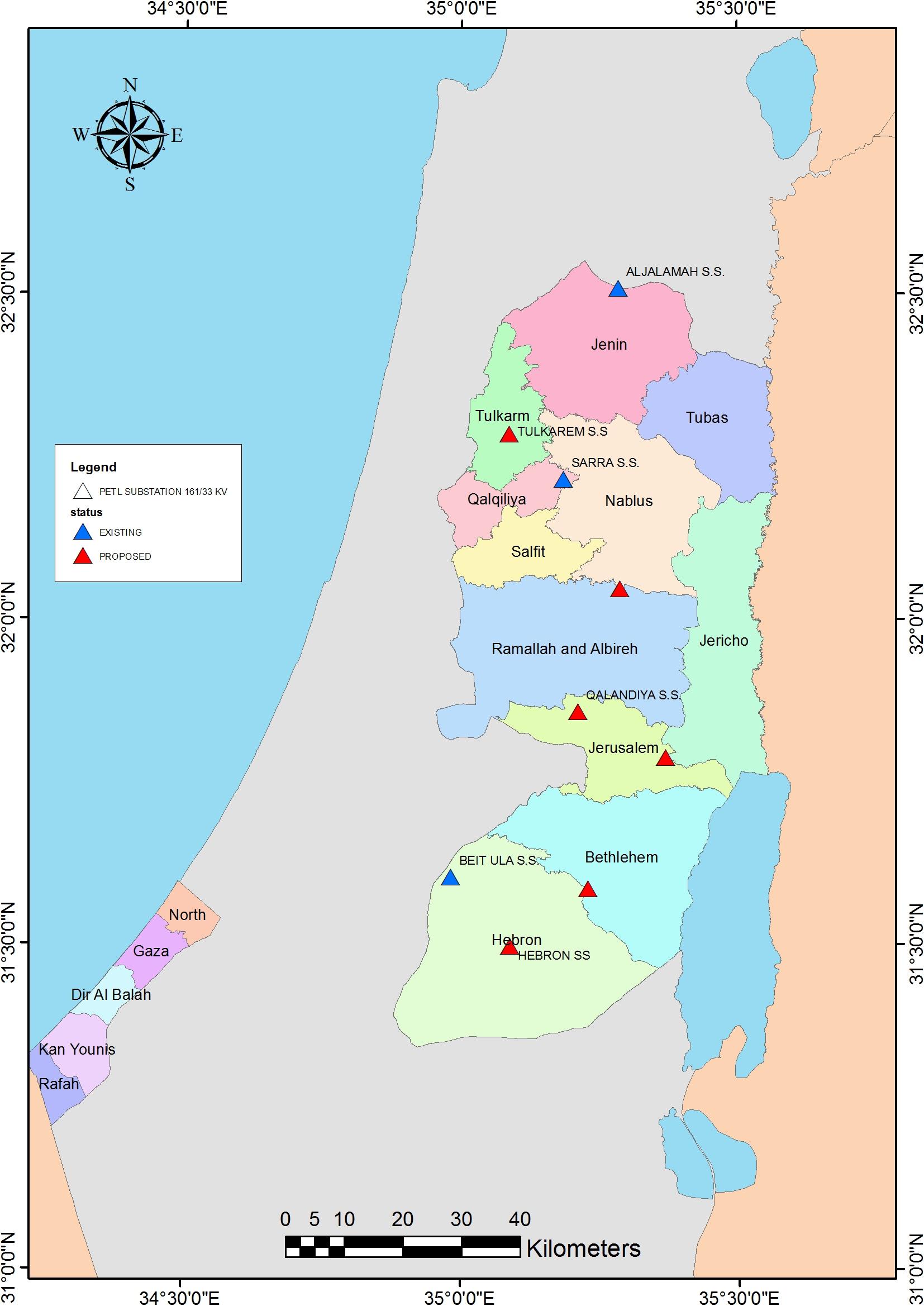 المخطط المستقبلي لانشاء محطات تحويل الكهرباء في الضفة الغربية وقطاع عزة